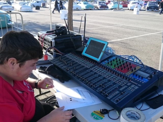 My Son, Christian on the Soundcraft Si Expression 32 at Bo Huff - Huffarama